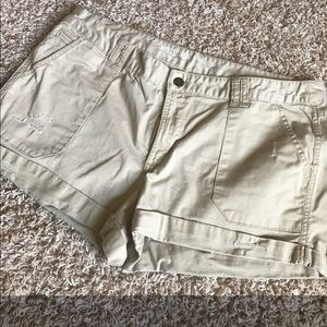 Khaki Distressed Shorts